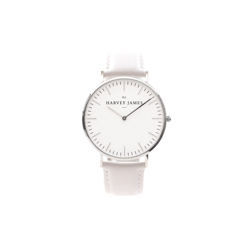 Harvey James Watches - Classic Silver Watch | Pure White Leather Strap