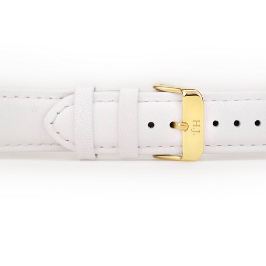 Harvey James Watches - Gold | Pure White Leather Strap
