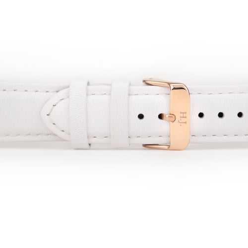Harvey James Watches - Rose Gold | Pure White Leather Strap