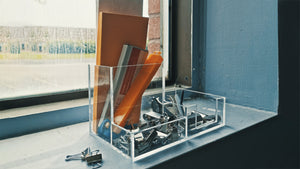 clear desk organizer on counter