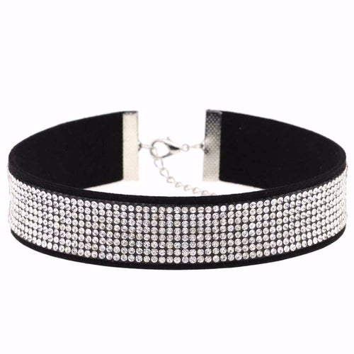 Ladies Black Leather Rhinestone Choker Necklace - makes a great fashion statement! - My VIP Super Store