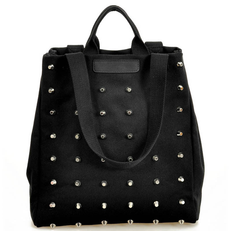 Stylish Ladies Canvas Studded Chic Black Bag - Perfect for any event or function.  Great Gift. - My VIP Super Store