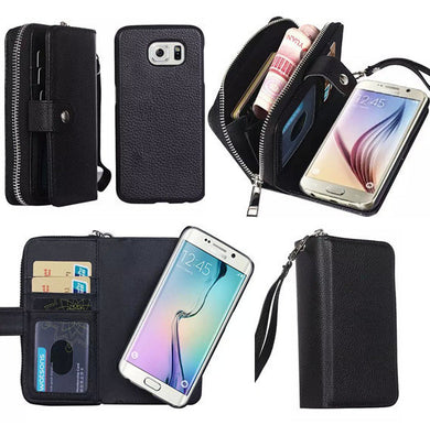 Ladies PU Leather Zipper Wallet Phone Case Cover with Card Slots for Samsung Galaxy S7 Edge S6 S6 Edge S5 S4 Note4 Note5 - My VIP Super Store