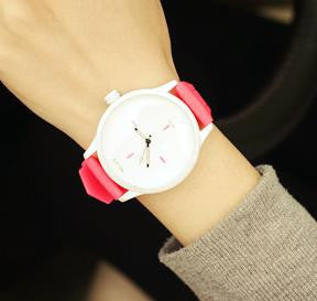 Ladies Black White Soft Silicone Strap Watch - HOT Seller - Lovely Accessory - My VIP Super Store