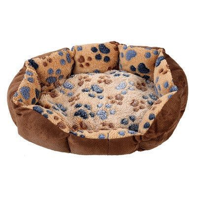 Dog Bed for Small Dogs - Warm Fleece Washable Paw Print - HOT Item (35*26*10cm)
