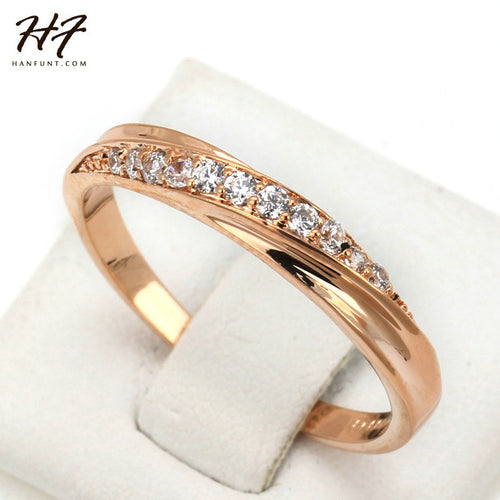 Classical Ladies Slim Feminine Rose Gold Ring with lovely cubic zirconia - Popular Hot Gift - My VIP Super Store