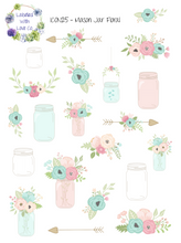 ICON25 - Mason Jar Floral Planner Stickers