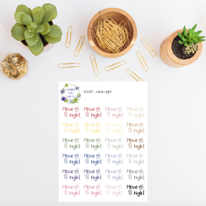 SCRI03 - Movie Night Planner Stickers
