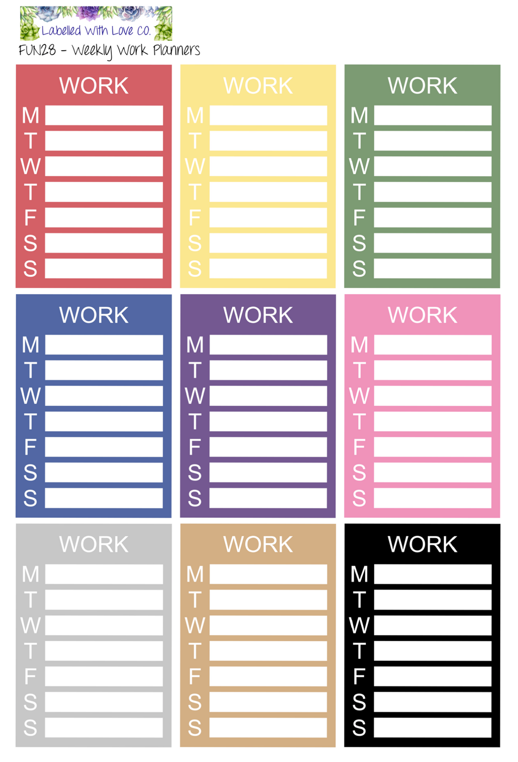 fun29 weekly work planners labelled with love co