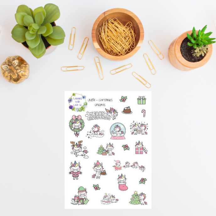 UNI54 - Christmas Unicorn Planner Stickers