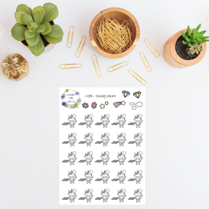 UNI38 - Baking Unicorn Planner Stickers