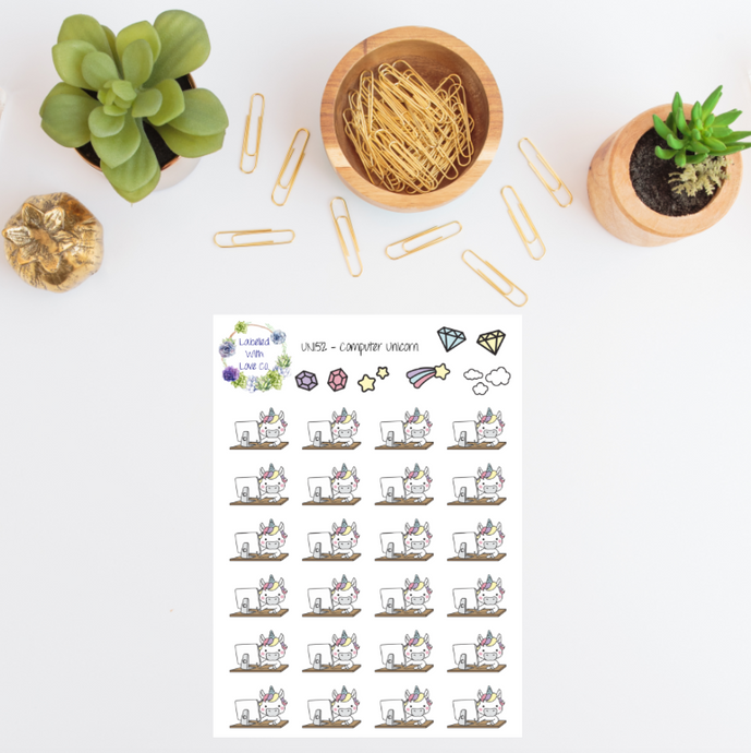 UNI52 - Computer Unicorn Planner Stickers