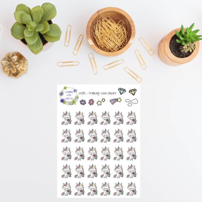UNI35 - Drinking Wine Unicorn Planner Stickers