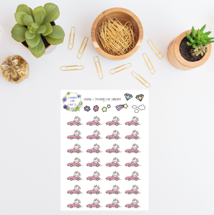 UNI46 - Driving Car Unicorn Planner Stickers