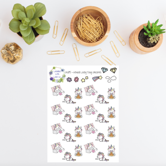 UNI05 - Mixed Lazy Day Unicorn Planner Stickers