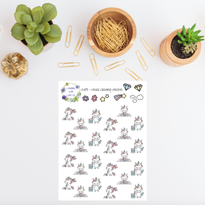 UNI03 - Mixed Cleaning Unicorn Planner Stickers