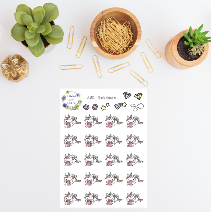 UNI50 - Phone Unicorn Planner Stickers