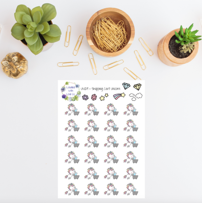 UNI29 - Shopping Cart Unicorn Planner Stickers