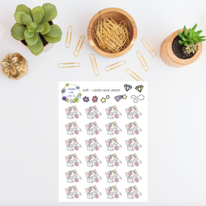 UNI17 - Watch Movie Unicorn Planner Stickers