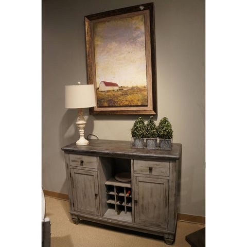 Wood sideboard With Wine Bottle Compartments Gray BM179840