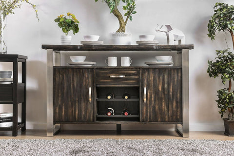 Metal Frame Wooden sideboard With Two Cabinets And One Drawer Gray BM183609