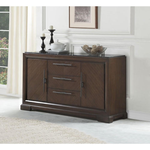 Three Drawers Wooden sideboard With Marble Top Brown BM185648