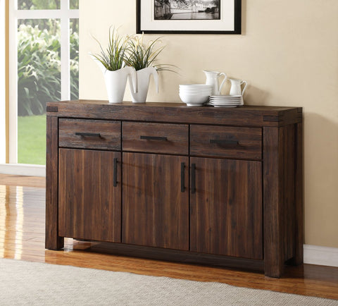 Three Drawers Solid Acacia Wood Sideboard With Three Door Cabinets, Brick Brown - BM187756