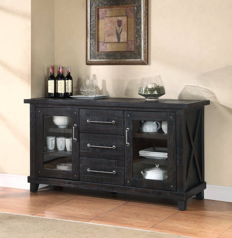 Multi Storage Wooden Sideboard With Two Glass Door Cabinets And Three Drawers, Brown - BM187768