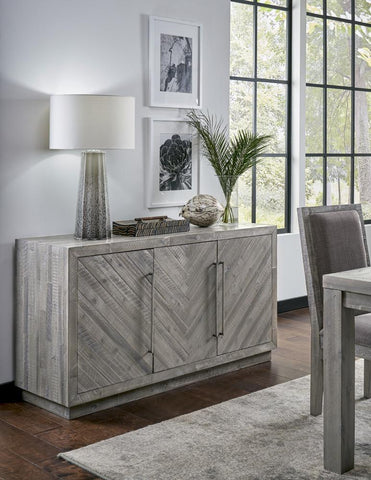 Three Door Wooden Sideboard With Sleek Metal Handle Pull, Rustic Latte Gray - BM187799
