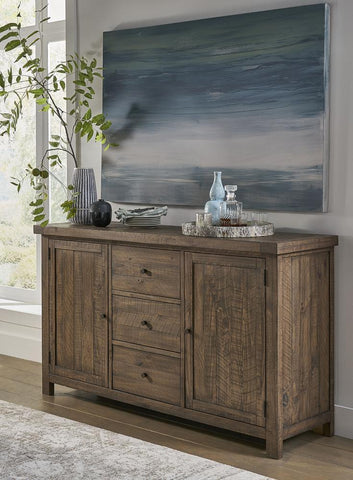 Wooden Sideboard With Three Drawers And Two Side Door Cabinets, Oak Brown - BM187847