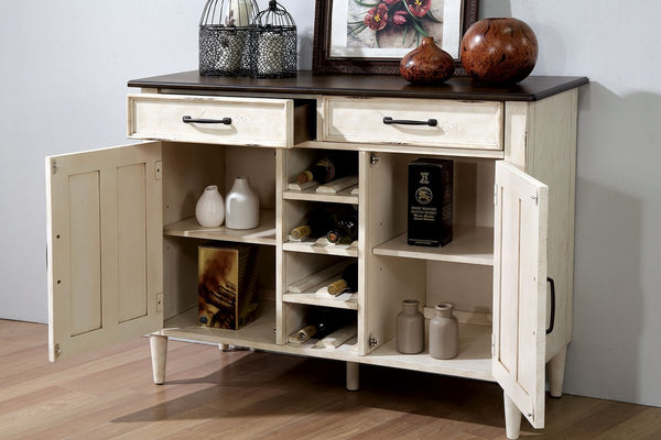 Rustic Solid Woodsideboard With Louvered Side Door Cabinets, White - BM188370