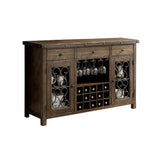 Antiqued Rustic Wood Sideboard with Wine Rack and Wine Glass Rack