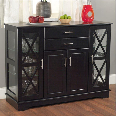 Classic Black Server Sideboard with Glass Doors 47""