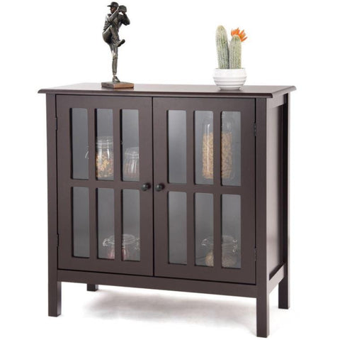 brown sideboard cabinet with glass doors