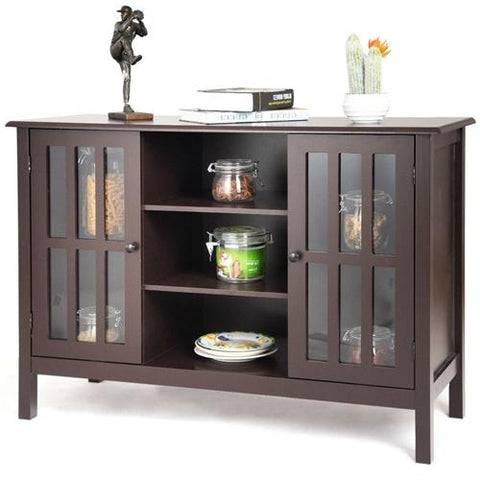 Davey Brown Sideboard Cabinet with Glass Doors 43""