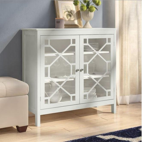 Painted White Sideboard with Glass Doors