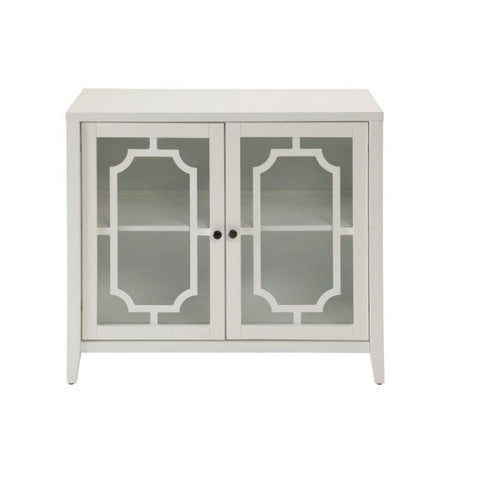 Venetian white small sideboard with glass doors