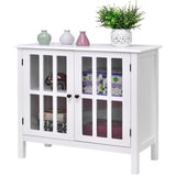 white small sideboard cabinet with glass doors