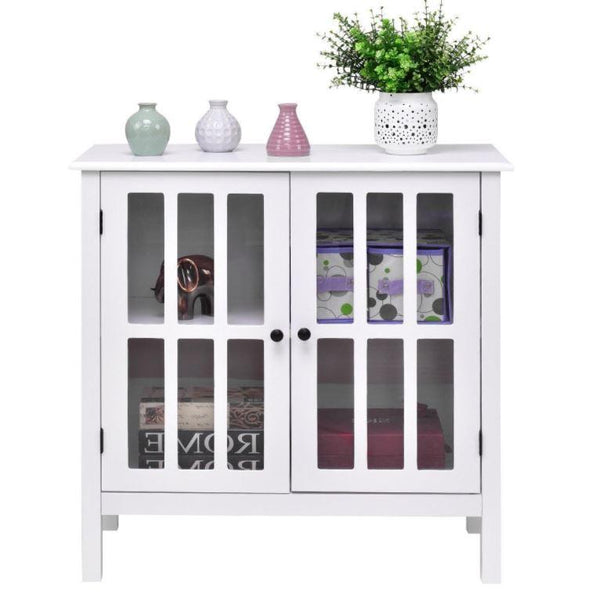 white sideboard cabinet with glass doors