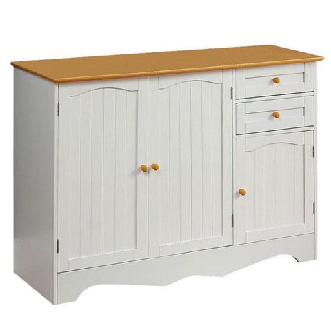 white two tone farmhouse sideboard