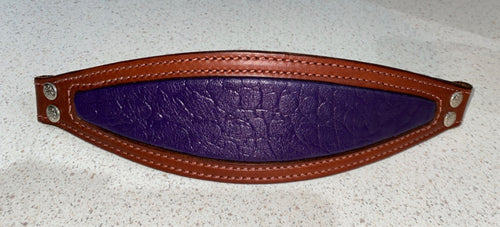 Purple elephant print with brown leather bronc Noseband