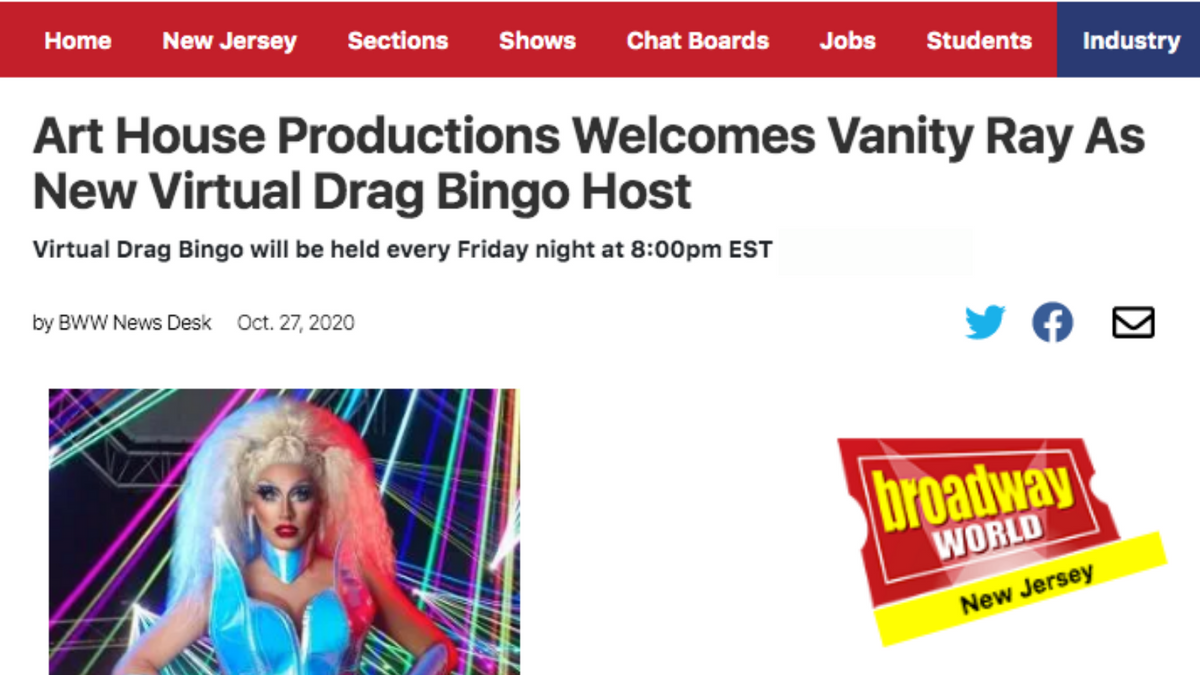 Art House Productions Welcomes Vanity Ray As New Virtual Drag Bingo Host