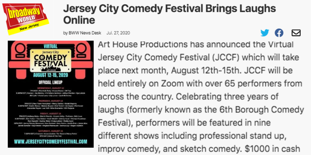 Jersey City Comedy Festival Brings Laughs Online