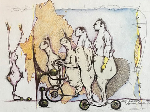 four human animal hybrid figures riding a bicycle like object, yellow and blue washes in the background