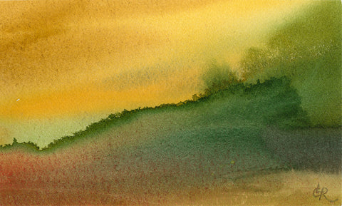 Abstract watercolor image with yellow top left corner and green bottom right corner.