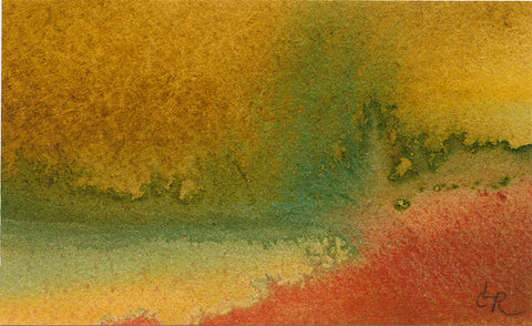 Abstract watercolor image with yellow, green, and orange washes.