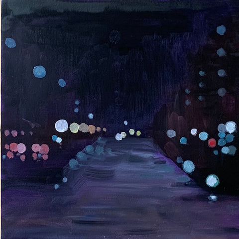 Impressionist style image with dots controlling the space. Appears to be a dark street view, with cool tones dominating..