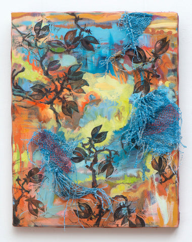Multi-media work with colorful background and leaf imagery throughout. Frayed fabric attached to surface.