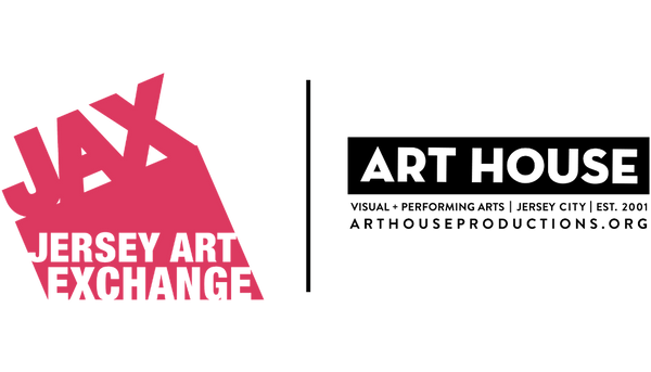 Jersey Art Exchange (JAX) in red on the left, Art House Productions logo in black on the right