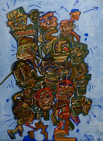 Blocky imagery of human figures, with active linework. Red and green figures on a blue background.